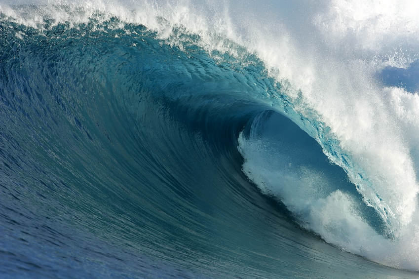 A large wave breaks in the South Pacific